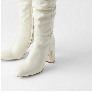 NWT Zara Cream Tall Leather Boots